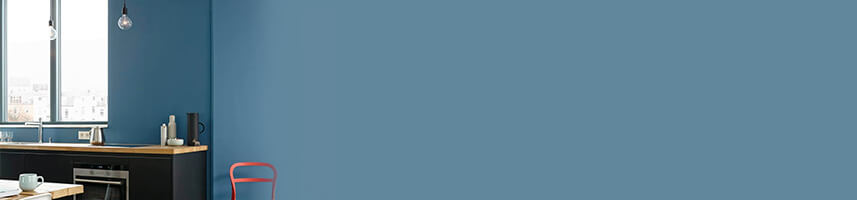 Blaue Wand Küche Idee
