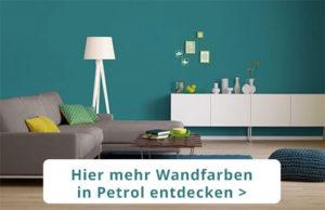 Petrol Wandfarbe Wirkung Beispiel Wohnzimmer