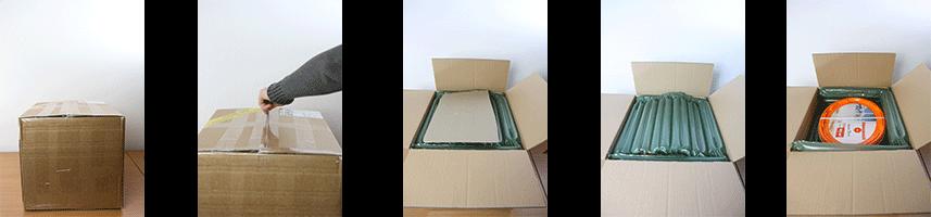 Öffnen Karton und die Verpackung Farbeimer