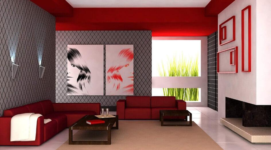 neu: wandfarben trends 2017 ♥ wandfarben-ideen & gestaltungs-tipps - Wohnzimmer Farbe Rot