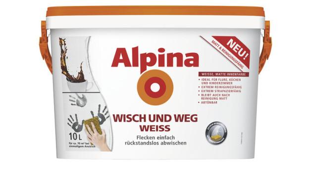 alpina alpinawei wandfarbe der klassiker im test. Black Bedroom Furniture Sets. Home Design Ideas