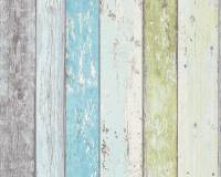 AS Creation Shabby-Holz Vliestapete Best of Wood`n Stone 2nd Edition, Blau-Grün, Tapete 855077