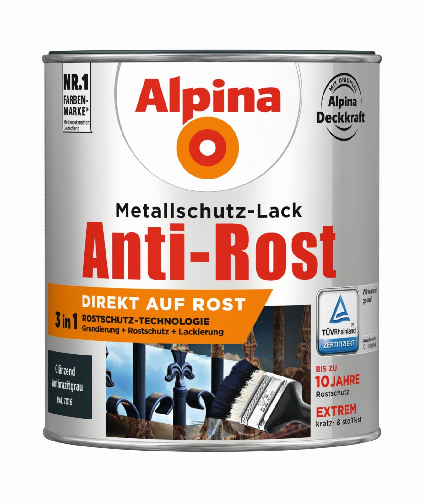 alpina metallschutz lack gl nzend 750 ml buntlacke anti rost in allen farben. Black Bedroom Furniture Sets. Home Design Ideas