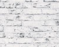 AS Creation Backstein Vliestapete Best of Wood`n Stone 2nd Edition, Weiß-Grau, Tapete 907837