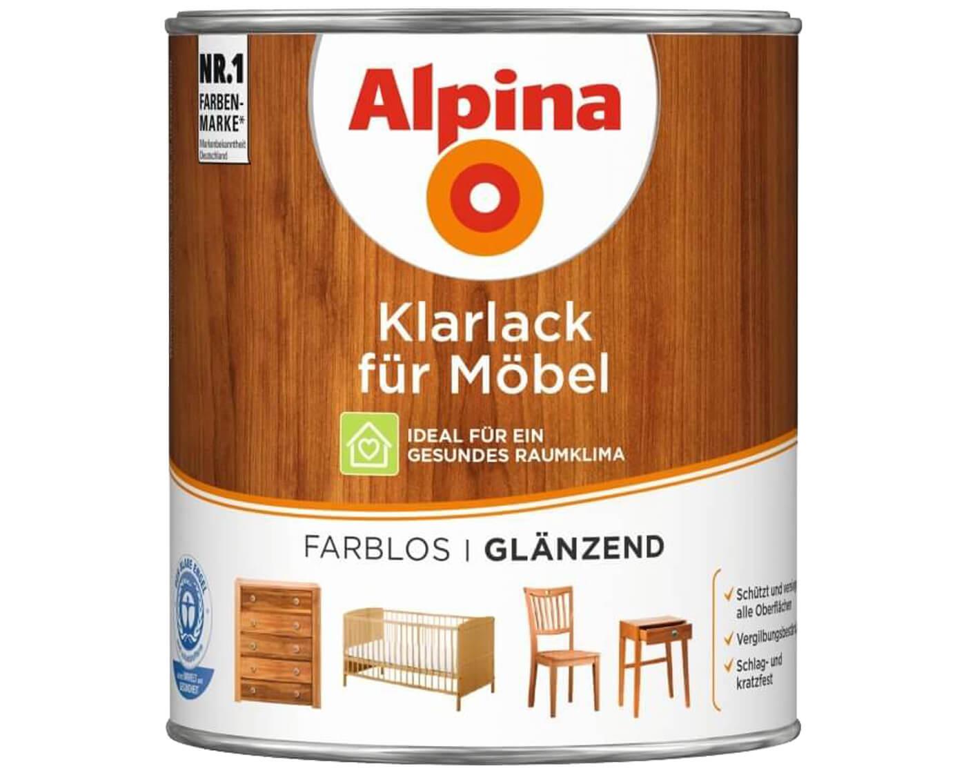 alpina klarlack f r m bel farblos lack grundierung markenbaumarkt24. Black Bedroom Furniture Sets. Home Design Ideas