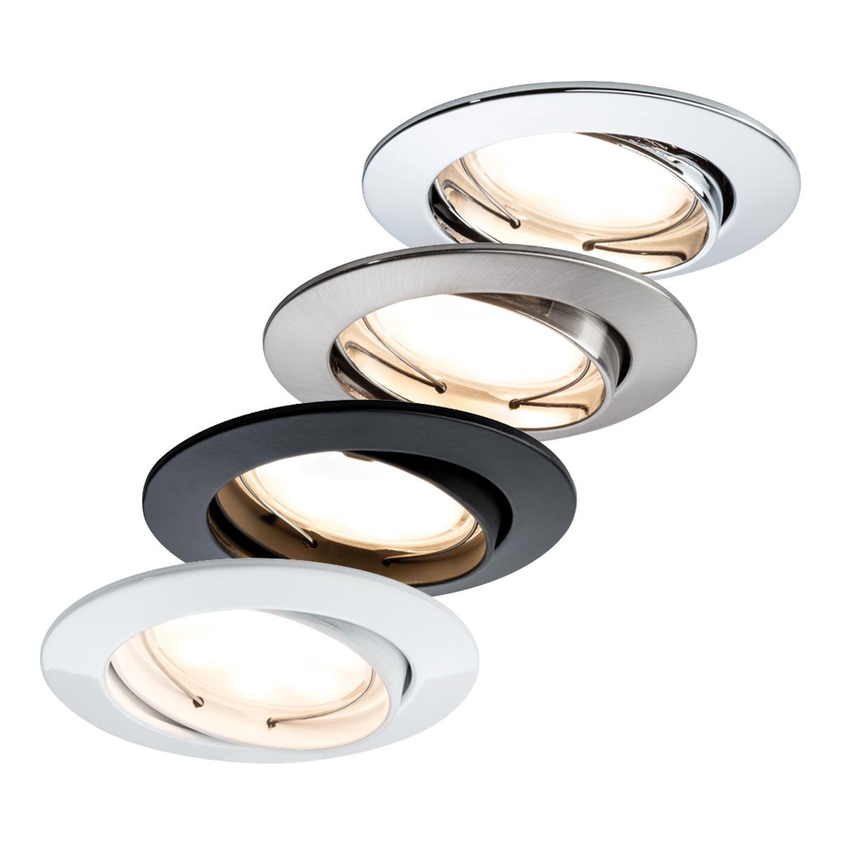 paulmann einbauleuchte premium led set coin rund schwenkbar satiniert 6 8w 51mm. Black Bedroom Furniture Sets. Home Design Ideas