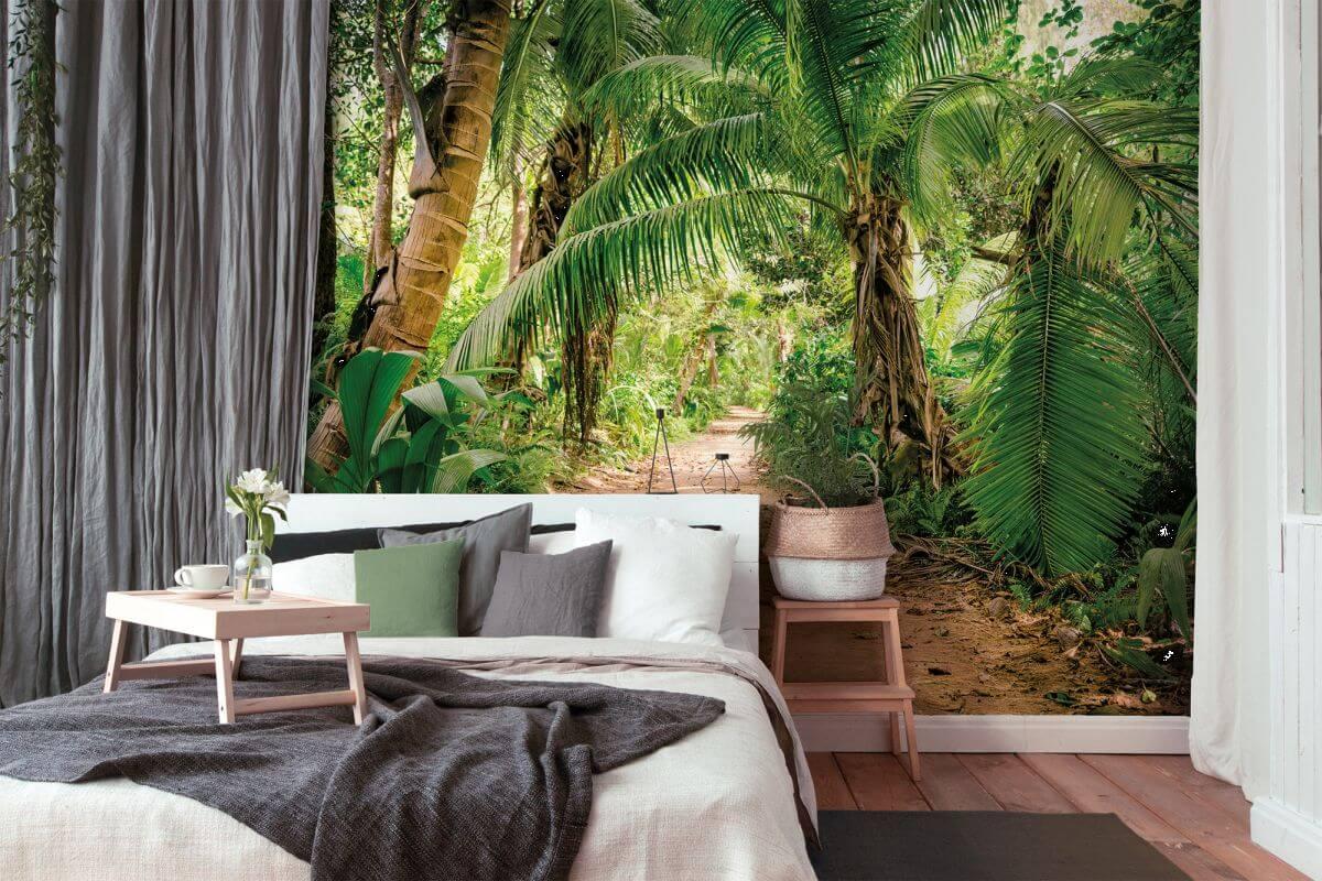 as creation designwalls palm walk natur fototapete braun