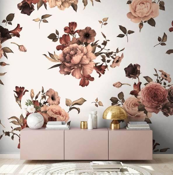 as creation designwalls flower bouquet 2 fototapete weiß
