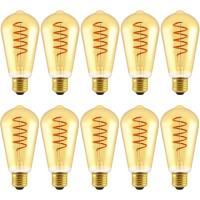 Blulaxa 10er Pack Filament Vintage Edison Lampe ST64, 5 W, E27, 250 lm, extra Warmweiß (1800 K)