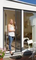 Schellenberg Fliegengitter-Rollo für Türen | 160 x 225 cm mit Rahmen in Anthrazit oder Weiß