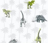 AS Creation Vliestapete Little Stars Dinosaurier, Dinos, Grau-Grün, 358351 Kinder-Tapete