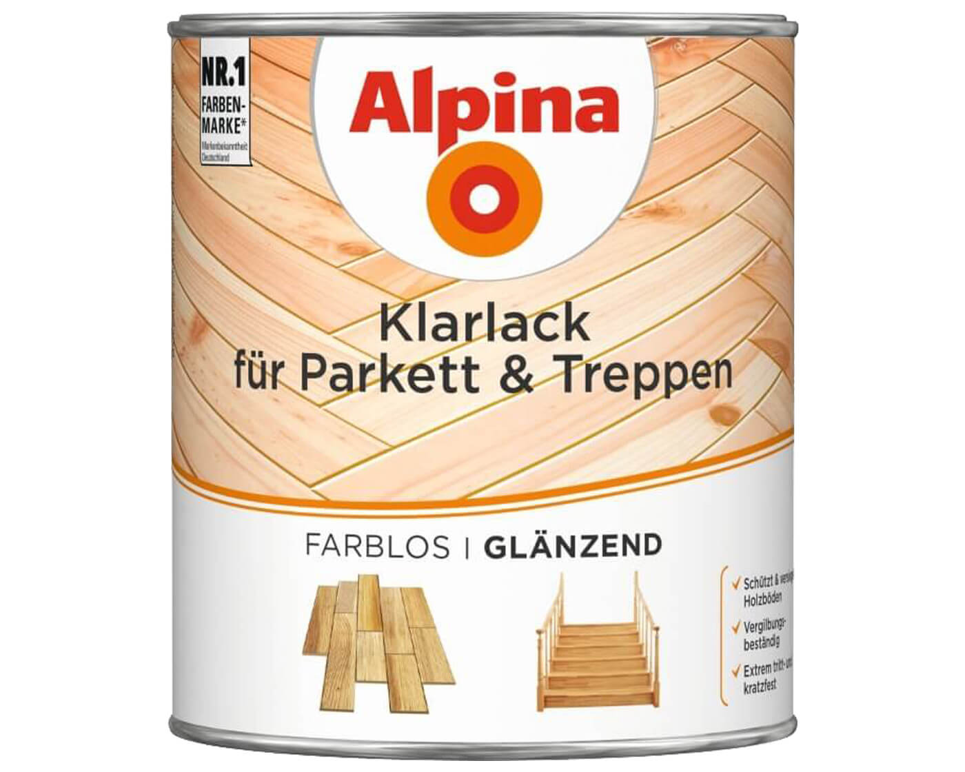 alpina klarlack parkett treppen farblos acryl lack markenbaumarkt24. Black Bedroom Furniture Sets. Home Design Ideas