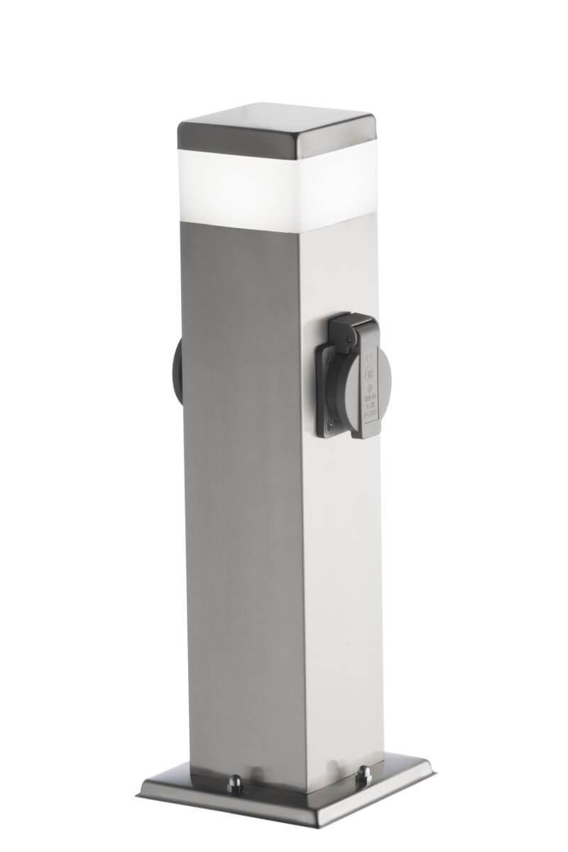 wofi outdoor line tara 2 steckdosen au enleuchte edelstahl geb rstet lampe mit 2 steckdosen. Black Bedroom Furniture Sets. Home Design Ideas