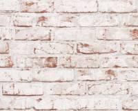 AS Creation Backstein Vliestapete Best of Wood`n Stone 2nd Edition, Weiß-Rot, Tapete 907813