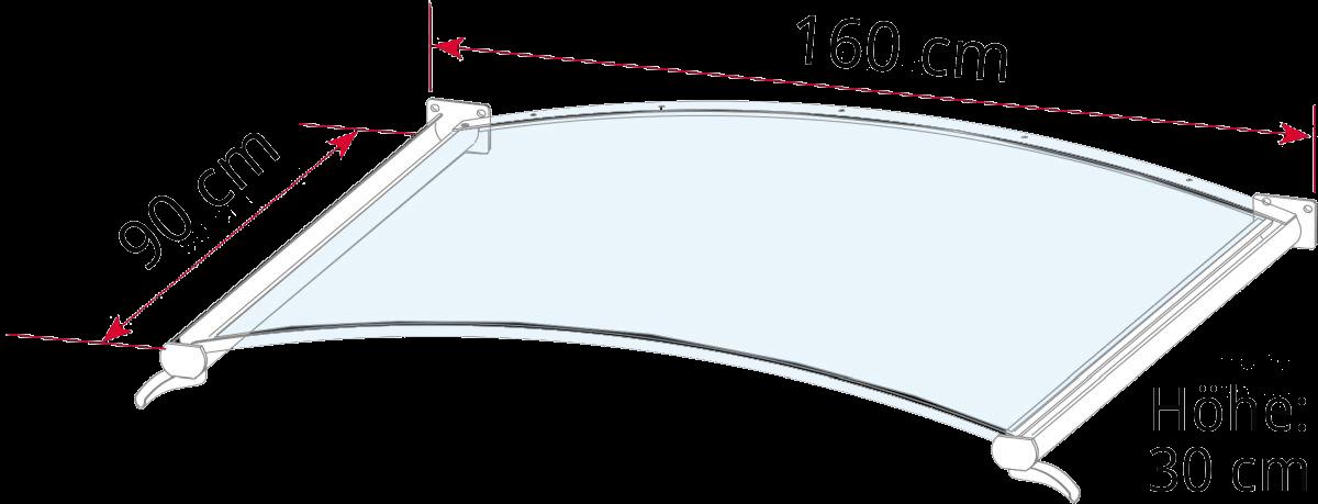 Seitenblende wählbar Gutta Vordach Rundbogenvordach NO 160 cm in 4 Farben