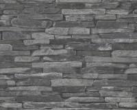 AS Creation Steinmauer Vliestapete Best of Wood`n Stone 2nd Edition, Schwarz, Tapete 914224
