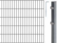 GAH Grundset Doppelstab-Gittermatte, Anthrazit, 6|5|6, Zaun-Set in allen Höhen + Längen