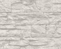 AS Creation Stein Vliestapete Best of Wood`n Stone 2nd Edition, Grau, Tapete 707116