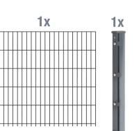 GAH Anbauset Doppelstab-Gittermatte, Anthrazit, mit Überstand, 6 5 6, 2,5 m, alle Höhen