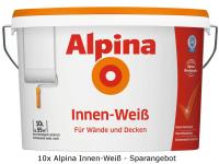 10x Alpina Farben Wandfarbe Innenfarbe Innen-Weiß 10L (100 Liter)