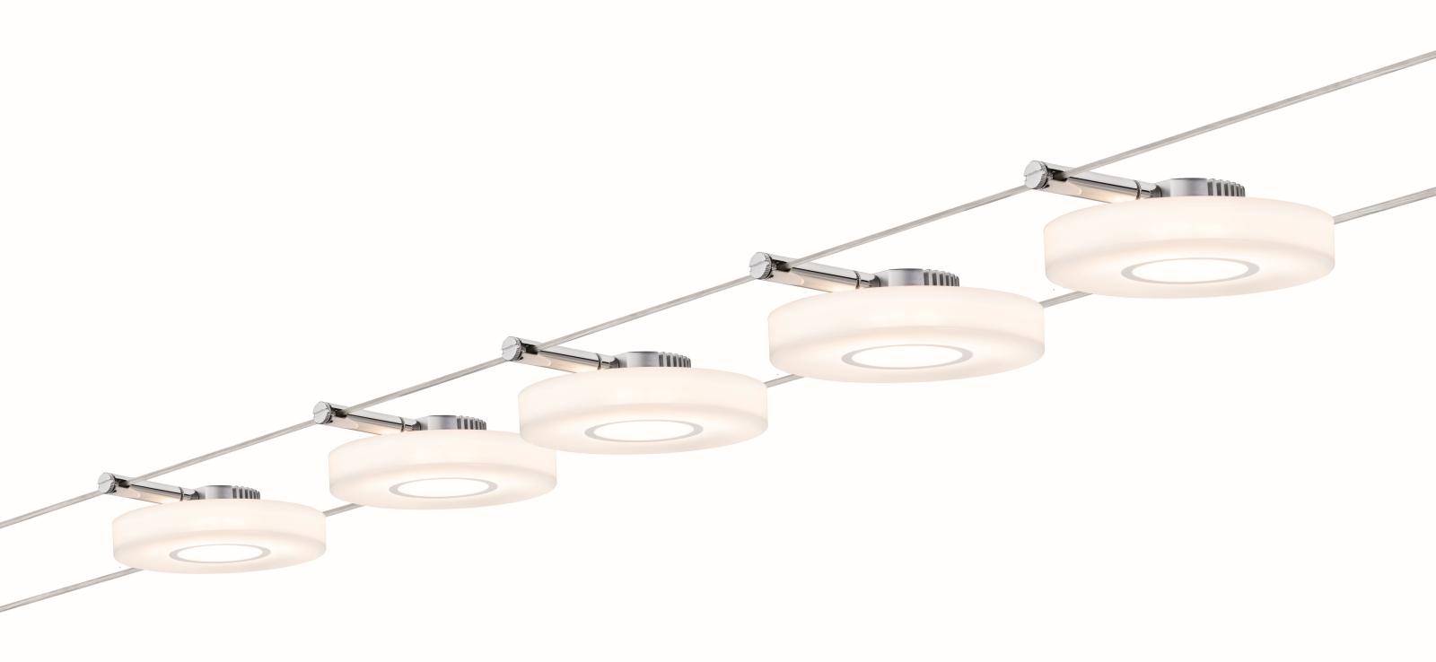 paulmann seilsystem wire systems dc set discled i 5x4w chrom satin 230v 12v dc 30va metall. Black Bedroom Furniture Sets. Home Design Ideas