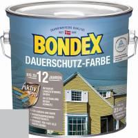 BONDEX Dauerschutz Farbe Außen Holzfarbe, 0,75 - 4 l, 19 Farben, Hochdeckend, Wetterschutz Silbergrau / 2,5 l