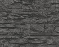 AS Creation Stein Vliestapete Best of Wood`n Stone 2nd Edition, Schwarz, Tapete 707123
