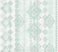 AS Creation Vliestapete Boho Love Blau-Grün, Karo Muster,364661 Tapete