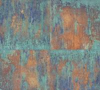 Livingwalls Vliestapete Neue Bude 2,0 Metallic-Rost-Türkis, 361181 Tapete